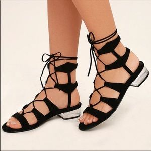 Steve Madden Chely Lace-Up Clear Heels Sandals